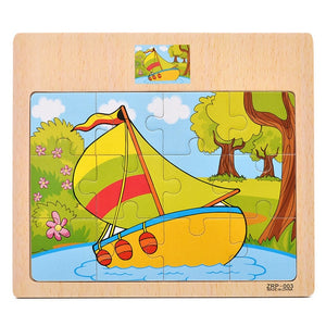 Cartoon Puzzle Jigsaw Early Education Wooden Toys For Kids Animal Traffic Cognition Puzzles Intelligence Toy For Children