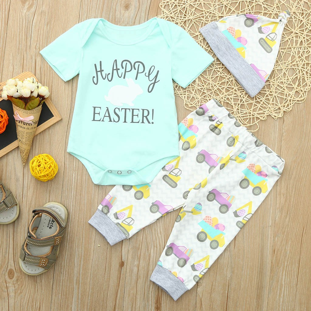 Infant Baby Easter Day Rabbit Letter Print Romper+Car Print Pants+Hat Outfits