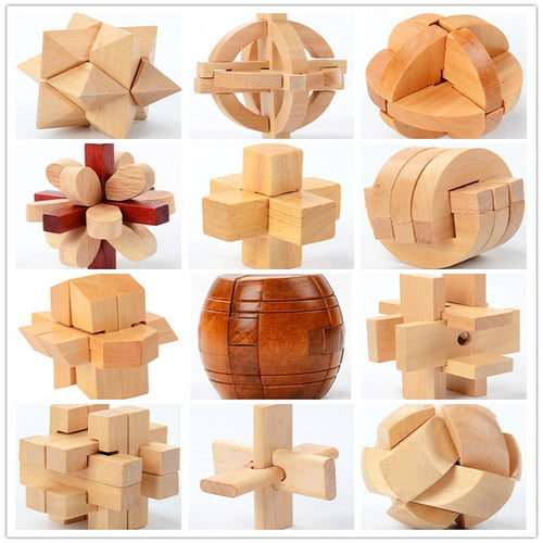 China Classic 3D Wooden Puzzle Lock Toys Cube Game Model Kit Design IQ Brain Teaser Educational Toys For Adults Children