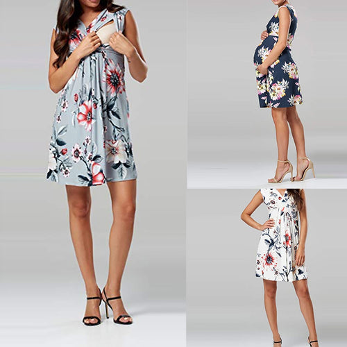 vetement femme 2019 Women clothing Sleeveless Pregnant Maternity Dress clothes Flower Nursing Pregnancy Casual ropa de mujer