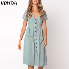 Load image into Gallery viewer, VONDA Women Knee-length Dresses 2019 Summer Pregnant Vintage Sexy V Neck Short Sleeve Casual Maternity Buttons Plus Size Vestido