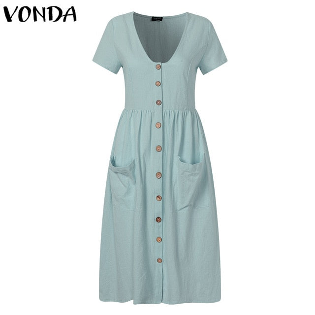 VONDA Women Knee-length Dresses 2019 Summer Pregnant Vintage Sexy V Neck Short Sleeve Casual Maternity Buttons Plus Size Vestido