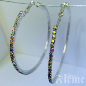 Sparkles Friday Night Big SIlver AB Crystal Hoops