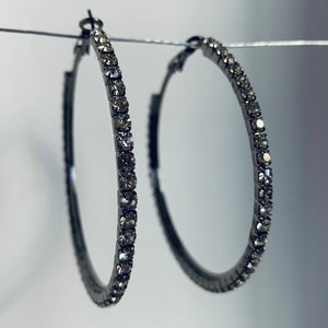 Sparkles Friday Night Pewter Clear Crystal Hoops Medium
