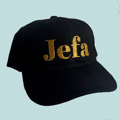 Jefa Baseball Cap- Gold or Silver Metallic