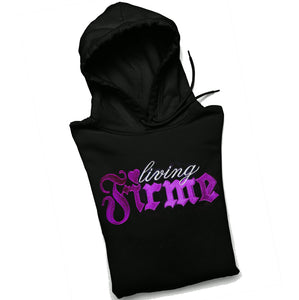 Living Firme Pullover Black Hoodie with Eggplant Purple Embroidery and Pocket