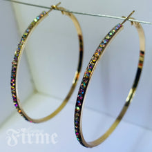 Load image into Gallery viewer, Sparkles Friday Night Gold AB Crystal Hoops