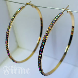 Sparkles Friday Night Gold AB Crystal Hoops