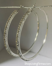 Load image into Gallery viewer, Sparkles Friday Night Silver and Clear Crystal Hoops Medium