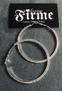 Sparkles Friday Night Silver and Clear Crystal Hoops Medium