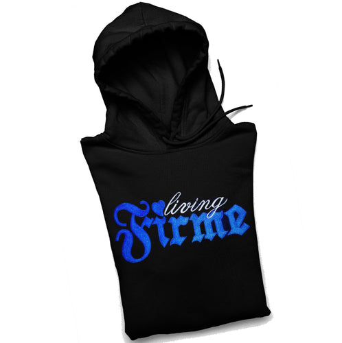 Living Firme Pullover Black Hoodie with Blue Embroidery and Pocket