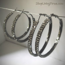 Load image into Gallery viewer, Sparkles 'Pewter' Finish Double-Layered Hoops