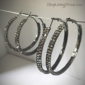 Sparkles 'Pewter' Finish Double-Layered Hoops