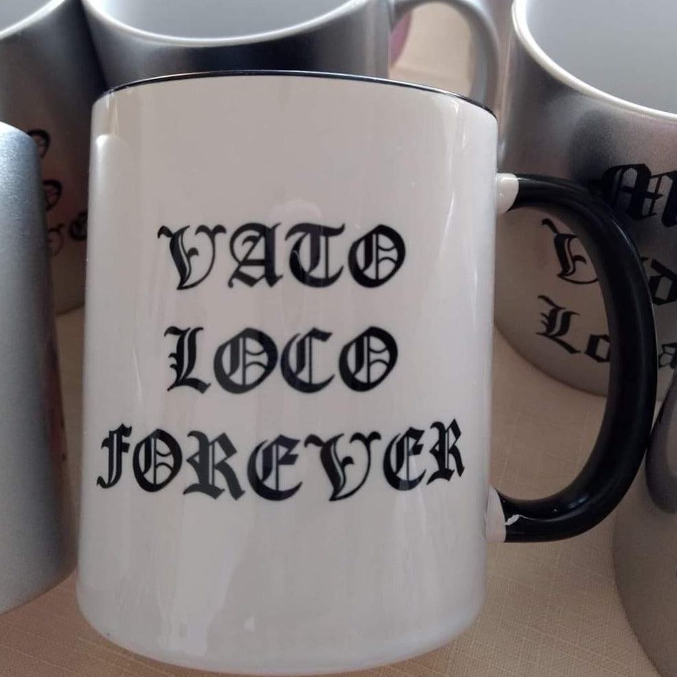 Vato Loco Black and White Series Living Firme Inspired by Chicano Culture Coffee Mugs
