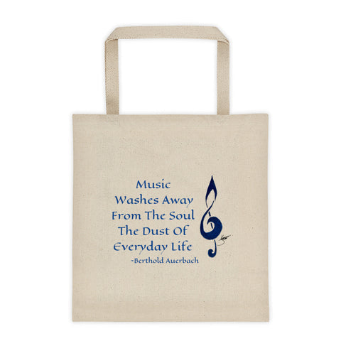 Tote bag - Tribal Treble Clef Music Washes Away From The Soul The Dust Of Everyday Life