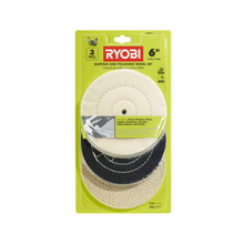 Load image into Gallery viewer, RYOBI 6 in. Buffing Wheel Set (3-Piece) A04BW11