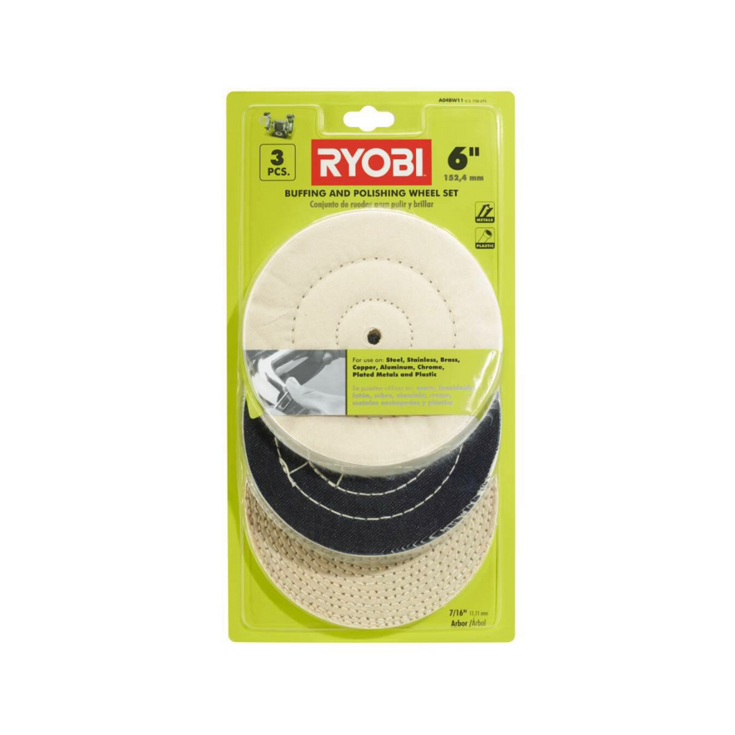 RYOBI 6 in. Buffing Wheel Set (3-Piece) A04BW11