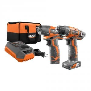 RIDGID 12-Volt Lithium-Ion Cordless Drill/Driver and Impact Driver Combo Kit with 2-Batteries, Charger and Bag