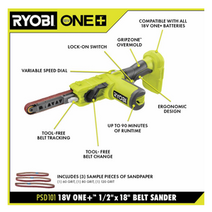 ONE+ 18V Cordless 1/2 in. x 18 in. Belt Sander (Tool Only)