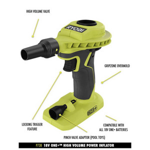 RYOBI 18-Volt ONE+ High Volume Power Inflator (Tool Only) P738