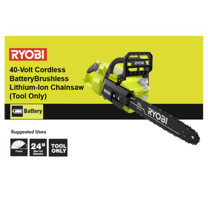 RYOBI RY40503 14 in. 40-Volt Lithium-Ion Brushless Electric Cordless Chainsaw (Tool Only)