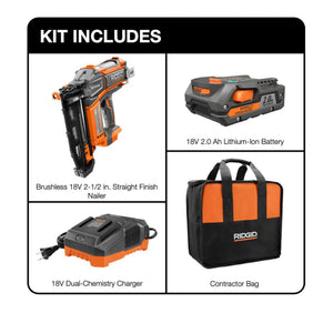 RIDGID 18-Volt Cordless Brushless HYPERDRIVE 16-Gauge 2-1/2 in Straight Finish Nailer, 2 Ah Battery, Charger, Belt Clip and Bag