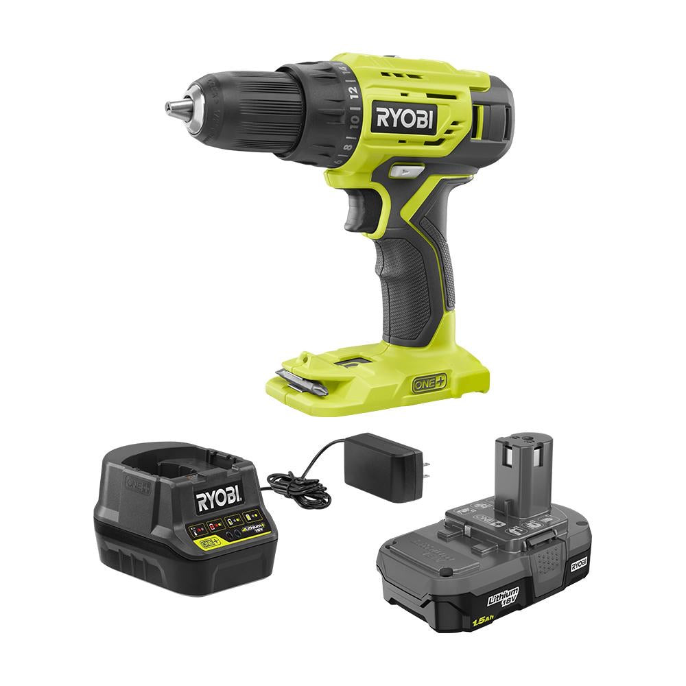 RYOBI 18-Volt ONE+ Lithium-Ion Cordless 1/2 in. Drill/Driver Kit with (1) 1.5 Ah Battery and 18-Volt Charger P215K