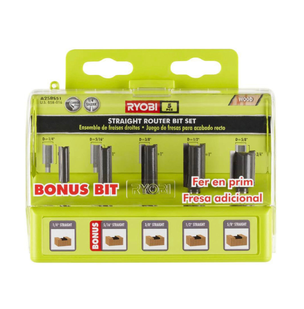 RYOBI Straight Router Bit Set (5-Piece) A25RS51