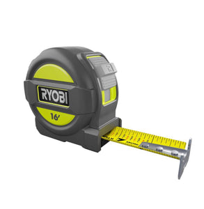 Ryobi 16 ft. Tape Measure with Overmold and Wireform Belt Clip RTM16