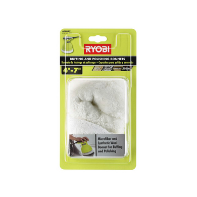 RYOBI 4 in. - 7 in. Microfiber and Synthetic Fleece Buffing Bonnet Set (2-Piece) A38BB11