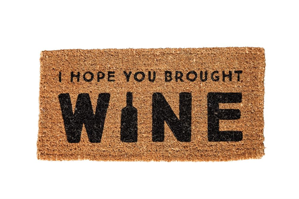 """I Hope You Brought Wine"" Natural Doormat"