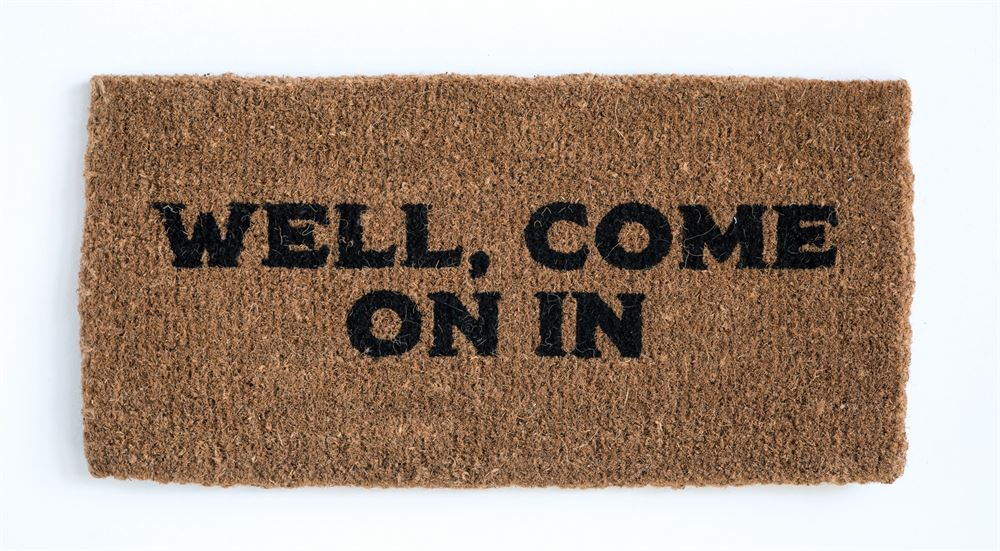 """Well, Come On In"" Natural Doormat"