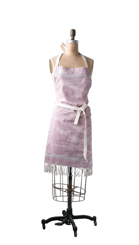Cotton Woven Apron w/ Pocket & Fringe, Red w/ Stripes