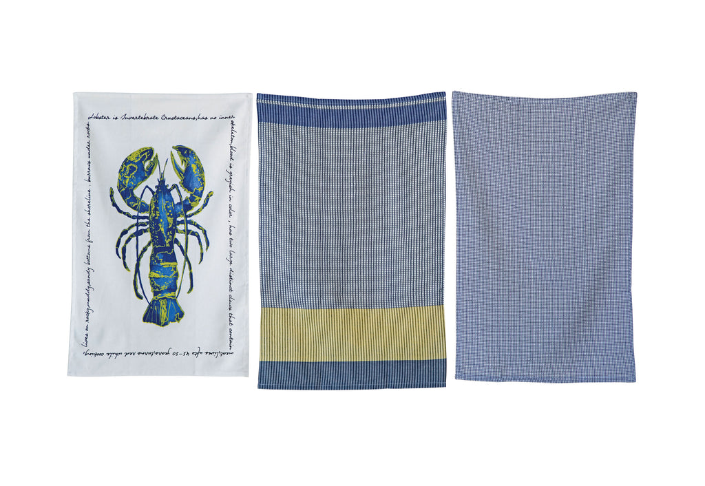 Blue & White Lobster Tea Towel Set