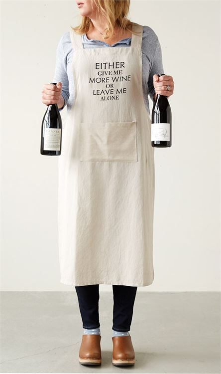 """Give Me More Wine"" Cotton Cross-Back Apron"