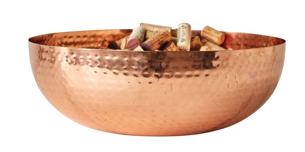 Round Metal  w/ Copper Finish Bowl