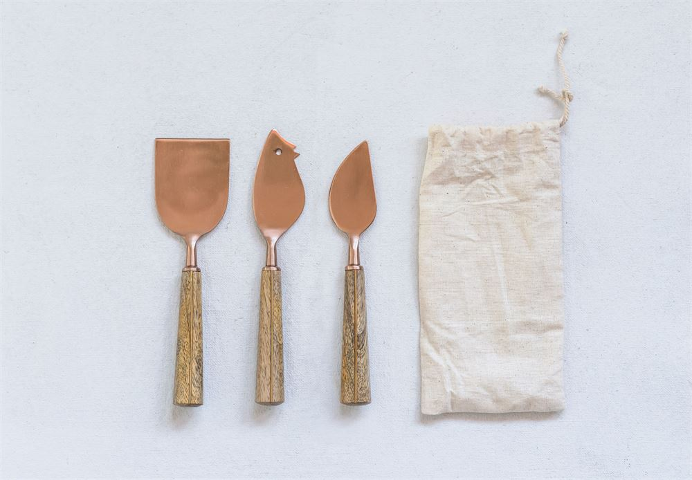 Copper Cheese Knives w/ Wood Handle, Set of 3