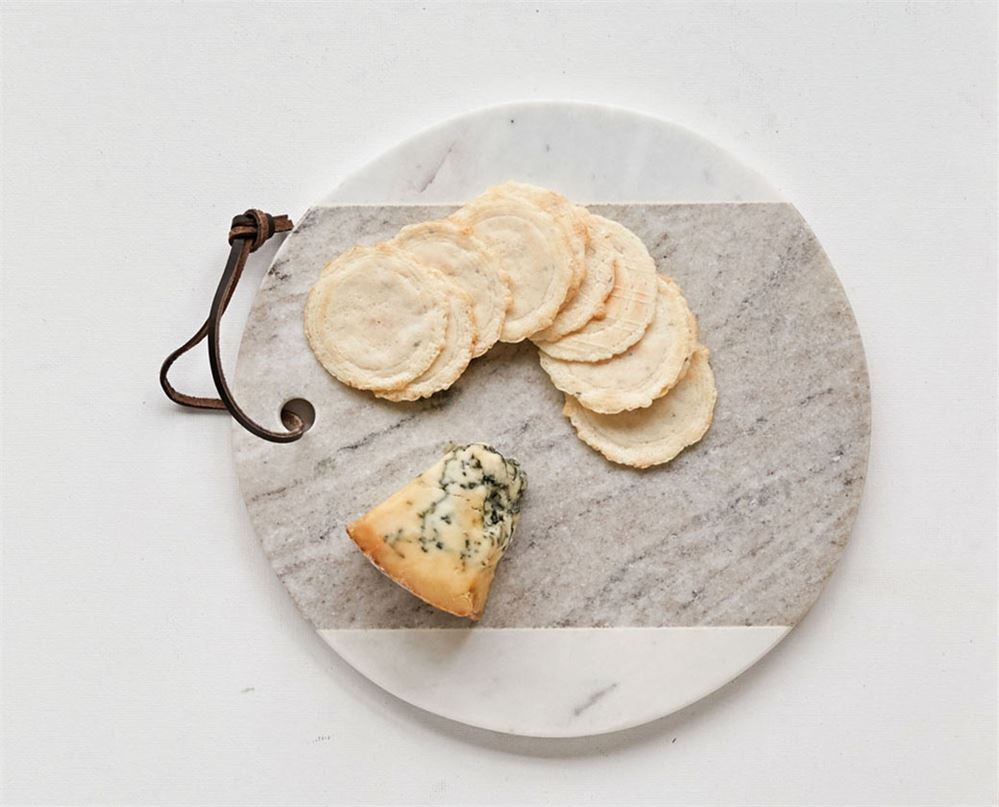 Round Marble Cheese Board w/ Leather Tie