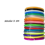 20 Colors X 5 Meters Each - Organic PLA Filament