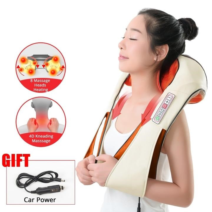 Heated Shiatsu Neck, Shoulders and Back Massager - Home and Car Power Cords Included