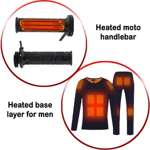 Combo Heated Handlebar & Black Heated Base Layer for Men
