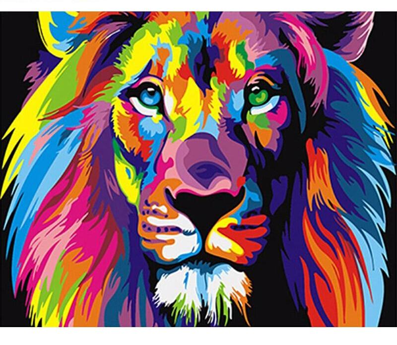 Muse D'art Colorful Lion DIY Digital Painting By Numbers - Be your own artist!