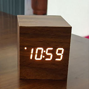 LED Wooden Digital Alarm Clock With Voice Control