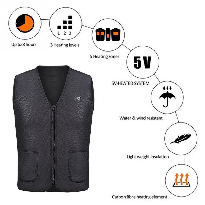 V Neck USB Heated Vest - Waterproof and Lightweight