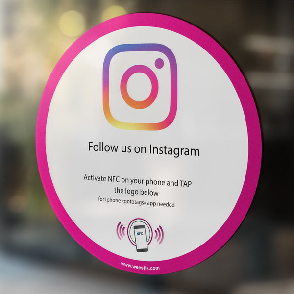 Sticker Instagram PLV vitrine et comptoir NFC (Version US)