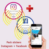 Pack 1 Sticker Instagram + 1 Sticker Facebook PLV vitrine et comptoir NFC