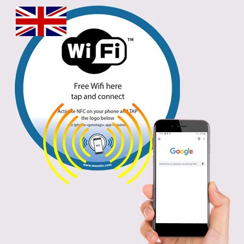 Sticker Free WiFi Comptoir et mur NFC (version US)