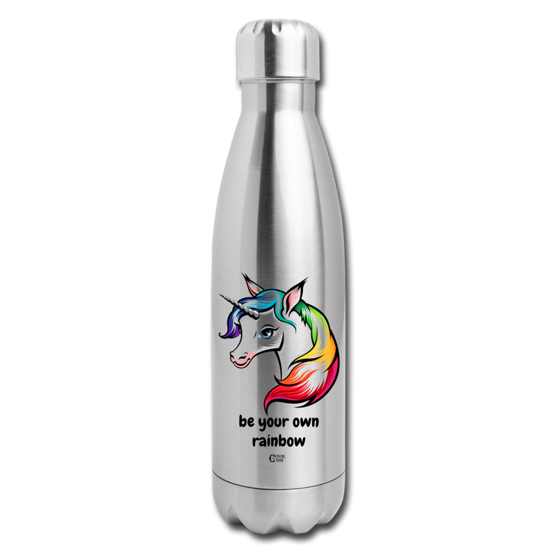 Be Your Own Rainbow Insulated Stainless Steel Water Bottle - silver