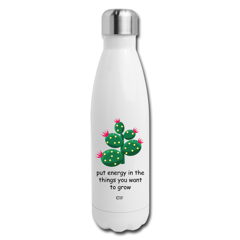 Grow with Energy Insulated Stainless Steel Water Bottle - white