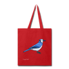 Blue Bird Cotton Canvas Tote Bag - red